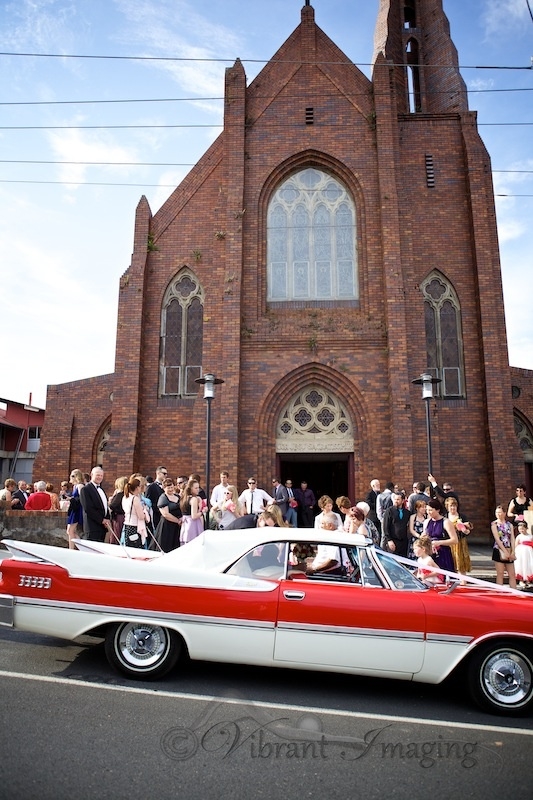 Love the old Dodge in front of the classic church.