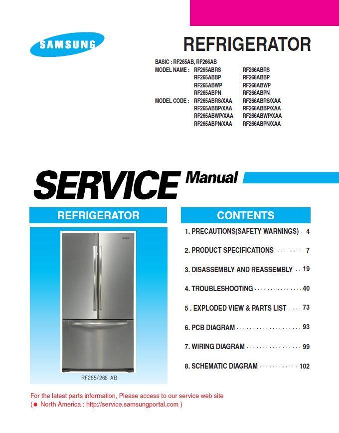 Samsung Rf265abrs Rf265abwp Rf265abbp Rf265abpn Refrigerator Service Manual Refrigerator Service Samsung Samsung Refrigerator