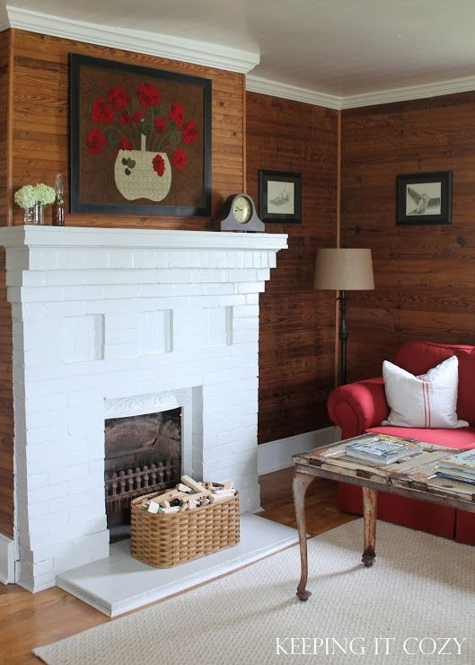 "I think my fireplace would look perfect painted white against my knotty pine walls, like this one in ""Keeping It Cozy"""