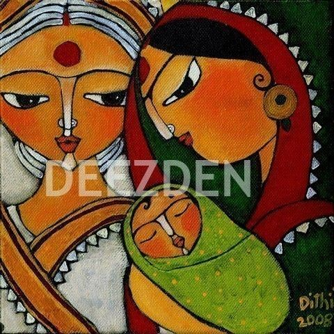 dithis folk art gorgeous print of indian ladies in sari with baby and bindi folktale art style
