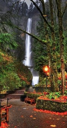 Multnomah Falls in the Columbia River Gorge near Portland, Oregon