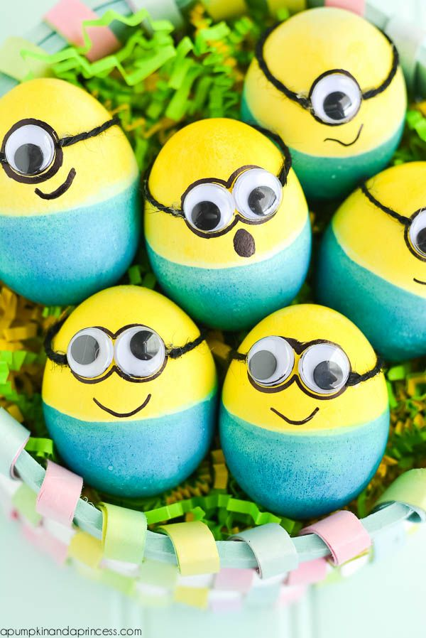 Easter Egg Ideas -- Dyed Minion Easter Eggs from Crystal A Pumpkin & A Princess