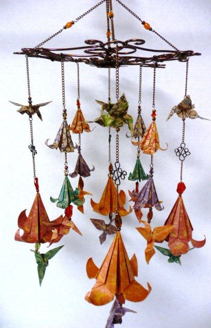 Elegant Hummingbirds and Lilies Origami Mobile