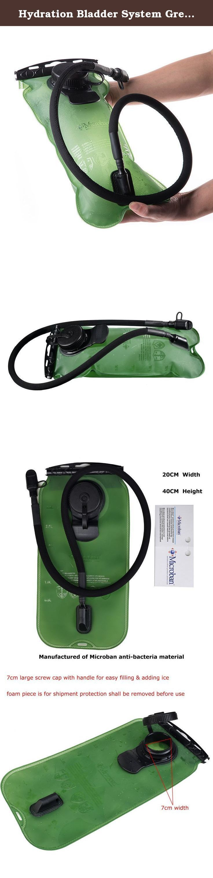 Hydration Bladder System Green 100oz/3litres, Large Opening, Easy to Clean and Full Water Reservoir, BPA Free Tasteless Water Bag Packs, Most Durable Health for Cycling, Climbing, Hiking. Top Hydration Pack Bladder Best For Health SGS Verification Military Class Quality FDA Approved BPA Free Water Reservoir Wide-mouth opening with Slidelock; closure is easy to refill and locks securely Quick-release hose and shutoff valve make drinking and refilling easyEasy to fill and insert into the…