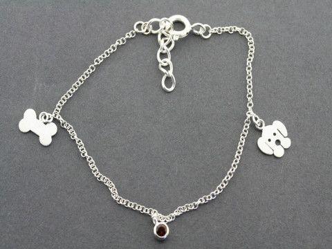 dog, bone and garnet bracelet