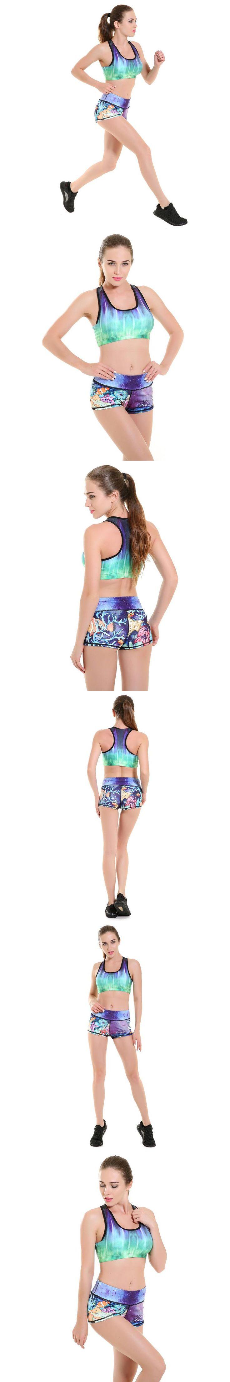 Womens Hot Sexy Super Elastic Active Workout Shorts Woman Underwater World cartoon printing Summer Fashion Beauty Shorts