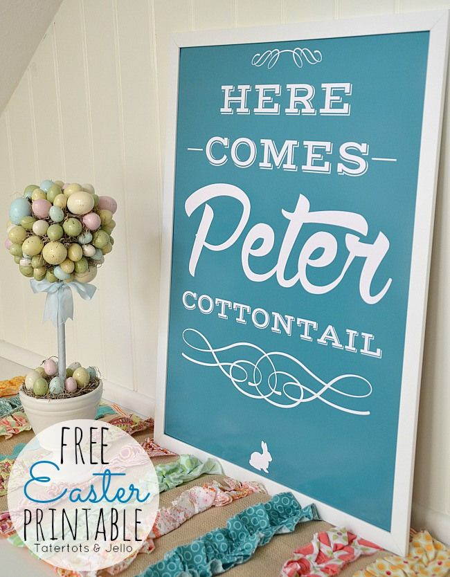 FREE Peter Cottontail Easter Printable from Tatertots and Jello! Comes in all different colors too! #DIY #printables