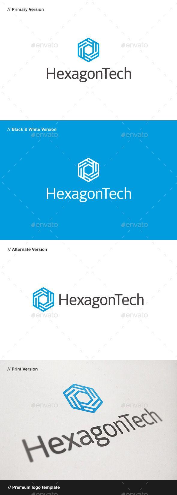 Hexagon Tech Logo - Abstract Logo Templates