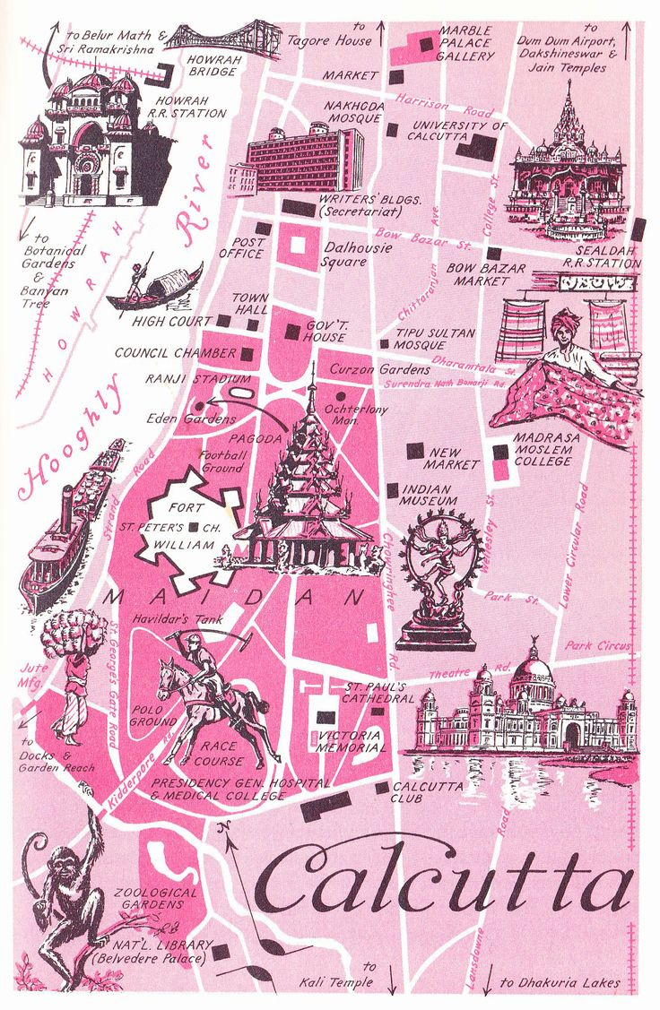 Old Map of Calcutta, India