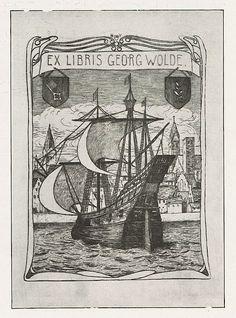 Bookplate by Heinrich Johann Vogeler for Georg Wolde, 1902