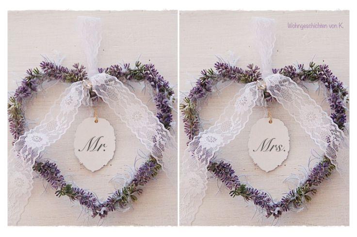 Hochzeitsdeko - 2 Herzen Mr & Mrs Hochzeitsdeko Lavendel Ho... - ein Designerstück von Wohngeschichten-von-K- bei DaWanda