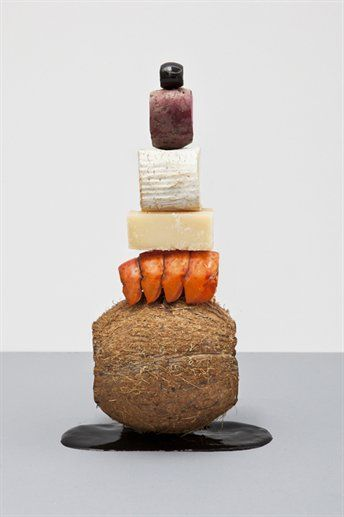 coconut, lobster, cheese, cheese, turnip, olive - still life by Martin Creed