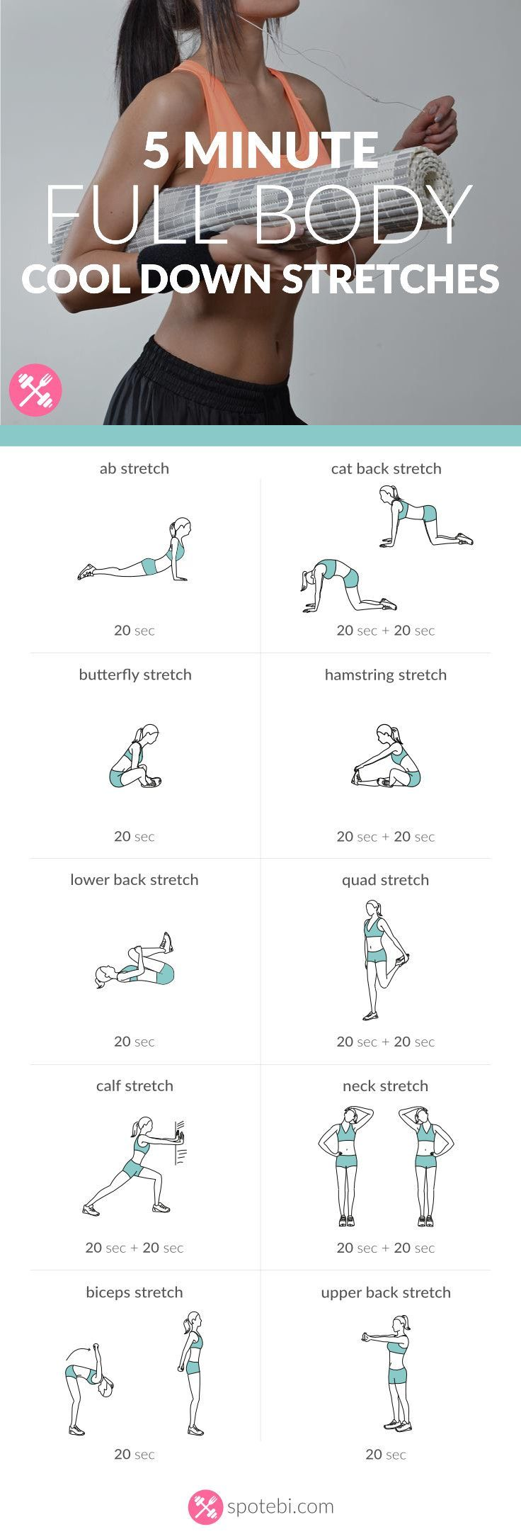 Stretch and relax your entire body with this 5 minute routine. Cool down exercises to increase muscle control, flexibility and range of motion. Have fun!<br /> http://www.spotebi.com/workout-routines/5-minute-full-body-cool-down-exercises/