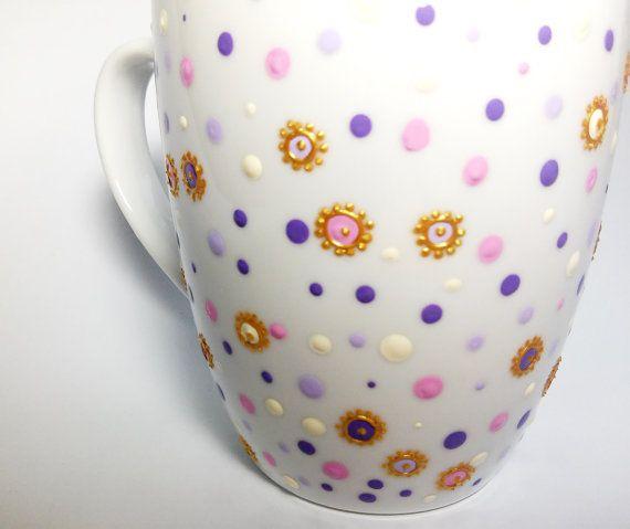 Confetti Ceramic Coffee Mug Hand Dotted Coffee Mug by ArtMasha