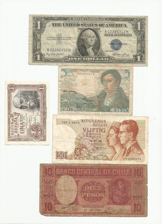 Nice Collectible World Banknote Collection Lot 1935 Us Silver Dollar 1947 France 5 Francs Spain