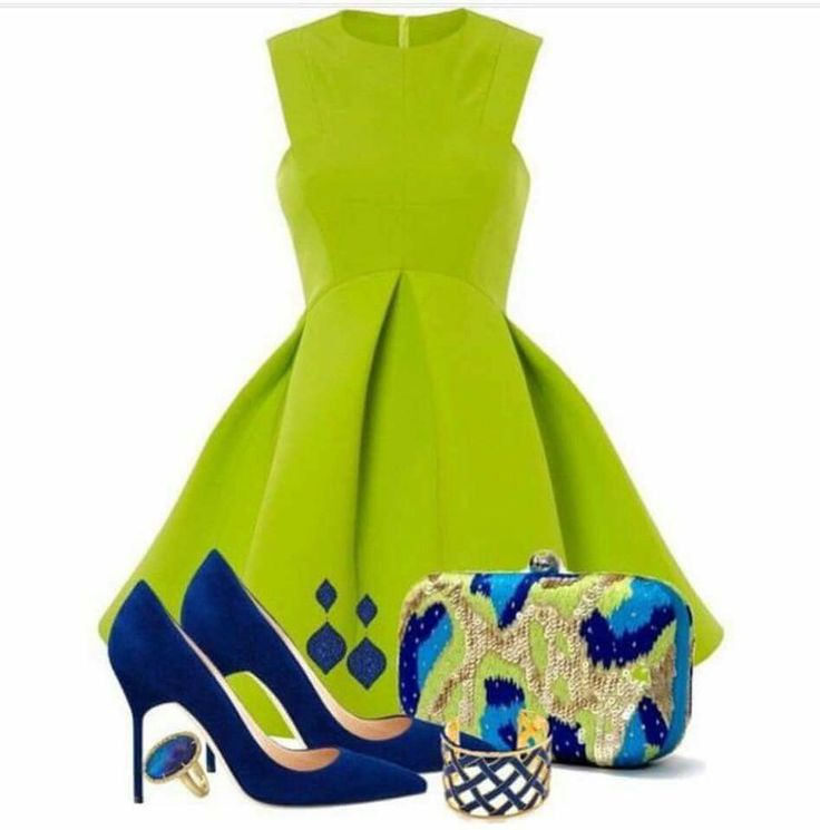 Lime green dress with pops of blue