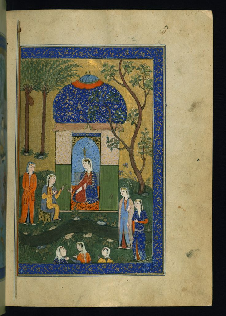 Mecnūn va Leylā  - This is the right side of a double-page illustrated frontispiece depicting Leylā in her pavilion with her attendants.