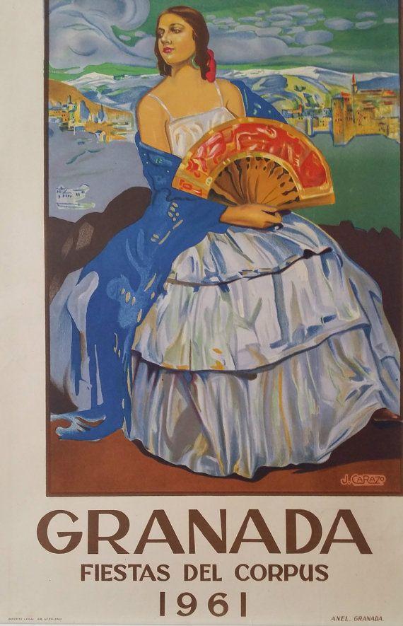 1961 Travel Poster Espa�a - Festival of Corpus Christi  - Original Vintage Poster