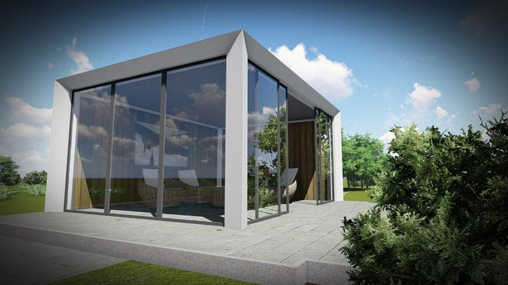 Impressie moderne veranda met glas