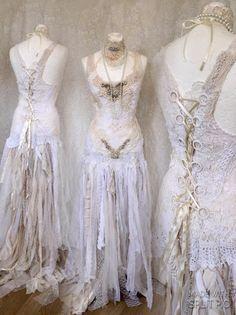 Boho Wedding Dress Dark Blush Tones Alternative Made In Denmark Unique Dressrepurposed Antique
