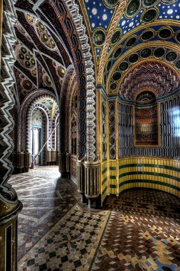 A Hidden palace in Tuscany.....Castello di Sammezzano in Reggello, Tuscany, Italy...A Morocco style residence with colorful decoration.