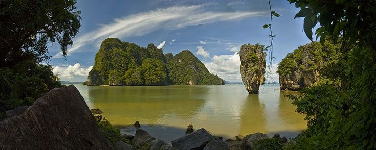 Off the west coast of Thailand, in the Phang Nga Bay, Andaman Sea. About 40 metres (130 ft) from its shore lies the 20 meters (66 ft) tall islet Ko Tapu or Khao Tapu. The island is a part of the Ao Phang Nga National Park. In 1974 it was featured in the James Bond movie The Man with the Golden Gun and is popularly called James Bond Island.  (No castle on top.)