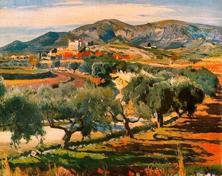 Novembre. Canyelles de Joaquin Mir Trinxet (1873-1940, Spain)