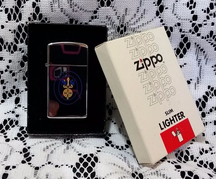 Zippo Slim Lighter NN Newport News Shipbuilding 1886 Design Original Box #Zippo