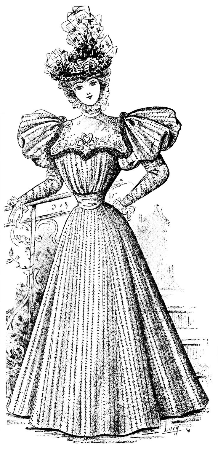 Victoria coloring dresses victorian clothes colouring pages page 2 - Vintage French Fashion Image Is Titled Robe Prime It S From The June 1896 Issue Of La Nouvelle Mode