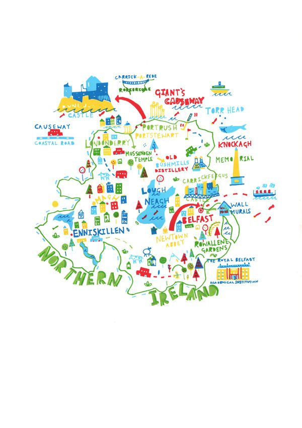 I've really been missing the UK lately.  Northern Ireland map by Steph Marshall