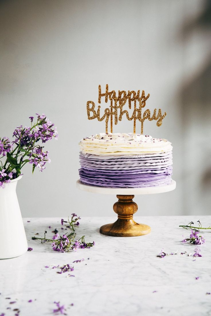 30th birthday chocolate cake with lavender ruffle frosting | hummingbird high || a desserts and baking blog