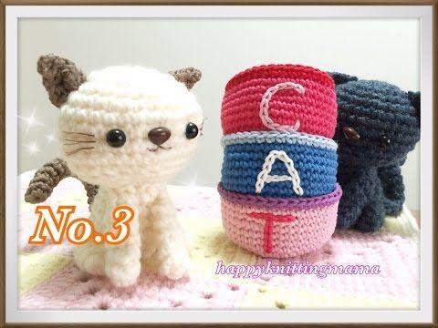 ねこのあみぐるみ③【初心者でも!】ワイヤーの入れ方と足と耳の編み方を解説しています☆Crochet Cat☆