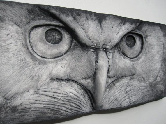 Great-Horned Owl Stare Sculpted Tile by SculptureGeek on Etsy