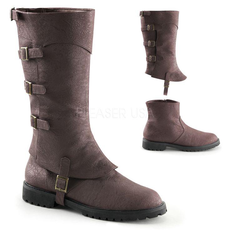 "1 1/2"" Flat Heel Men's Buckled Strap Knee High Cuffed Boots With Detachable Shaft & Inner Zipper. FUNTASMA GOTHAM-105 S =Men's Size 8-9 M =Men's Size 10-11 L =Men's Size 12-13 XL=Men's Size 14"