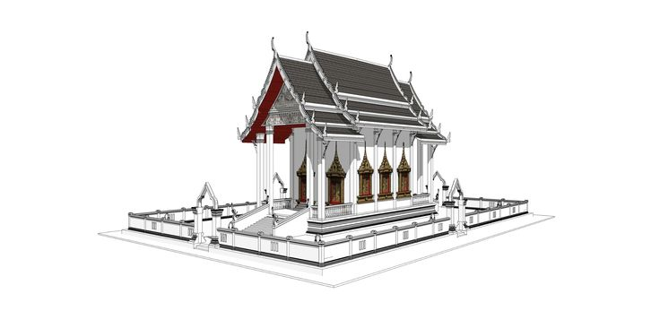 Sketchup pro 2015 how to create thai temple model First step : import file plan .dwg(autocad) and group file befor build the model. Subscribed for see New VD...