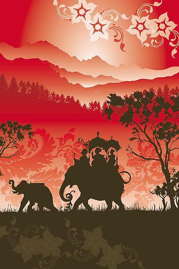 """Indian Elephants and monkeys"" Fine Art Print by Lara Allport"