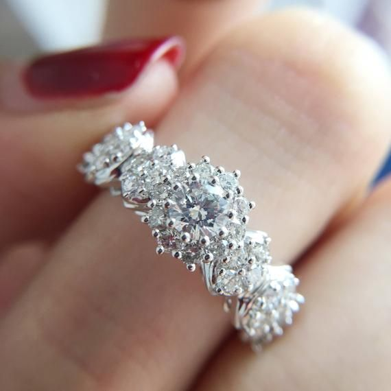 0 3 Carat Diamond Engagement Ring Diamond Halo Engagement Ring White Gold Ring Diamond White Gold Ring In 2020 Halo Engagement Ring Etsy Tourmaline Engagement Ring Engagement Rings