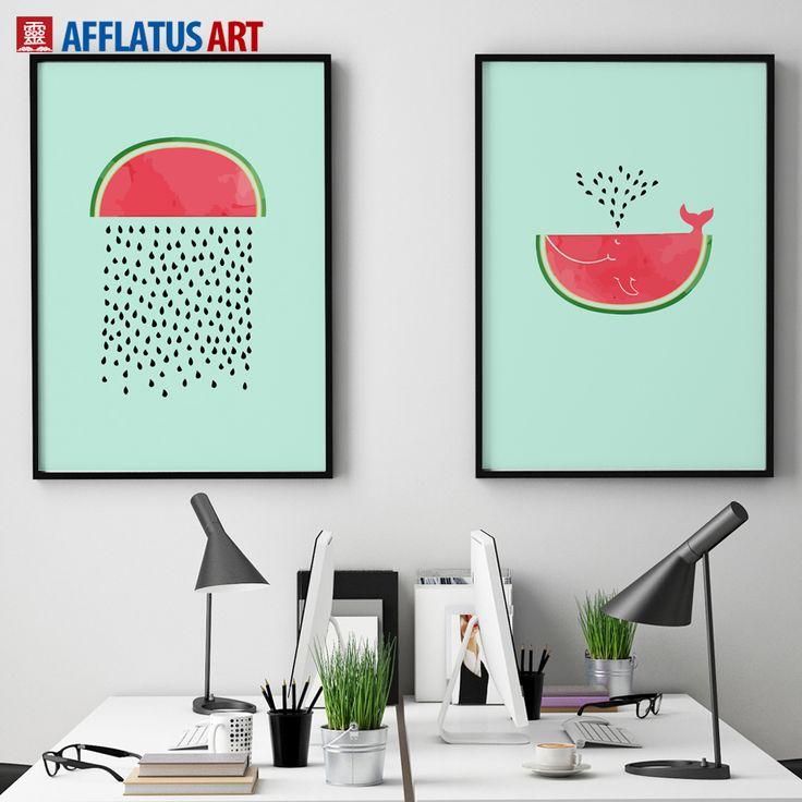 Günstige AFFLATUS Wassermelone Nordic Poster Leinwand Malerei Wandkunst  Leinwand Poster Aquarell Drucke Wand Bilder Für Wohnzimmer