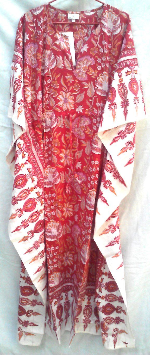 Red Chinoiserie Floral Anokhi Hand block print Boho chic Long Indian cotton Kaftan Tunic One SizeAnokhi's kaftans are the ultimate in comfort. Perfect for