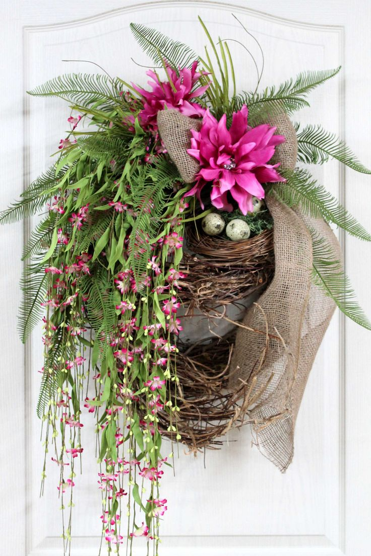 Summer Wreath, Front Door Wreath, Spring Wreath, Country Wreath, Wildflowers, Honeysuckle, Handmade Country Decor -- FREE SHIPPING. $167.00, via Etsy.