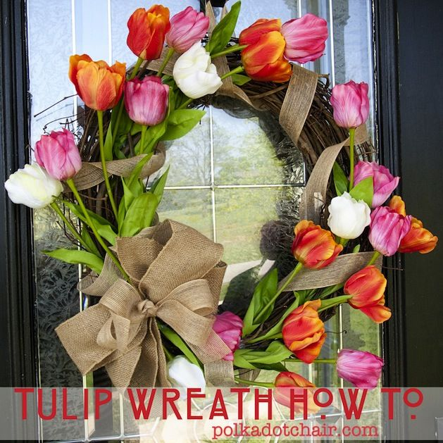 Pretty Tulip wreath made with artificial flowers!