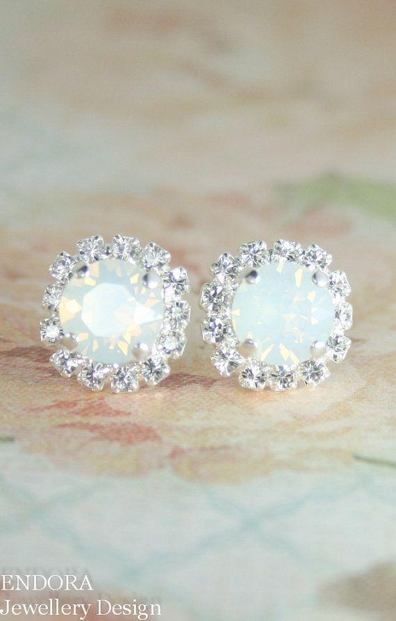 Opal earringsWhite opal crystal earringWhite by EndoraJewellery #opalsaustralia