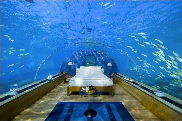 This underwater bedroom suite sits 16 feet below sea level of the Indian Ocean, at the Conrad Maldives Rangali Island. Dont know Id be able to sleep, but its pretty amazing nonetheless.
