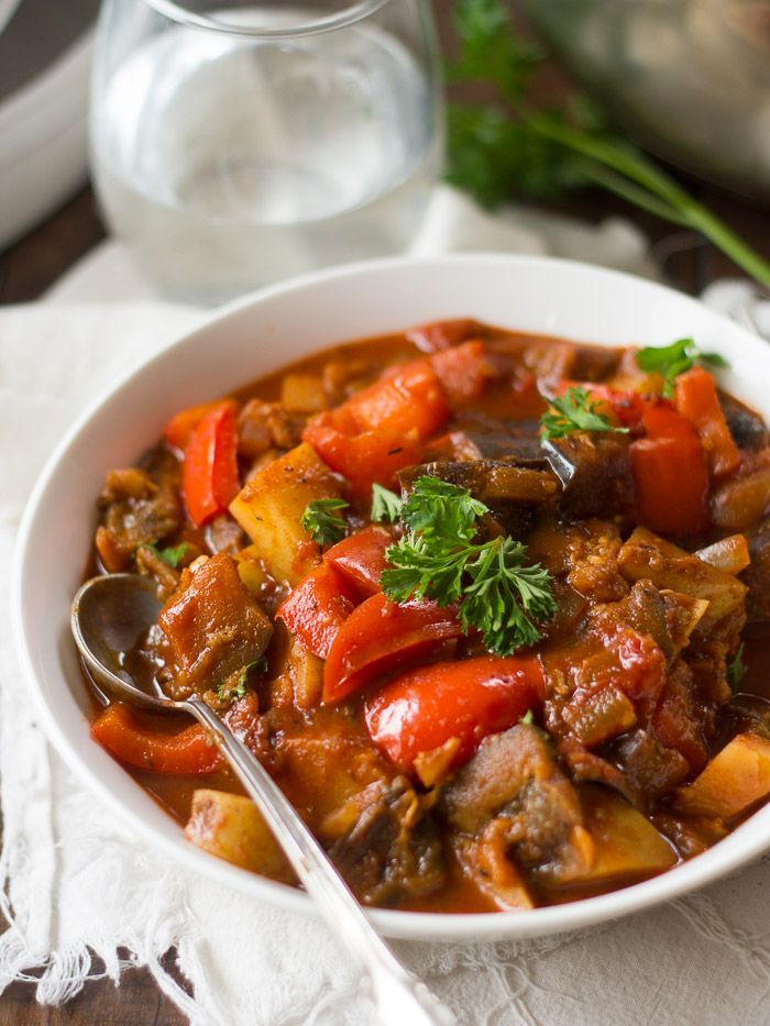 Potatoes, bell peppers and tender-melt-in-your-mouth chunks of eggplant are simmered up in a smoky paprika sauce to make this hearty vegan goulash.