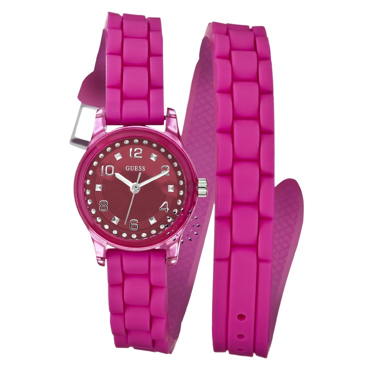GUESS Pink Mini Rubber Strap  Μοντέλο: W65023L3  Τιμή: 93€  http://www.oroloi.gr/product_info.php?products_id=26024