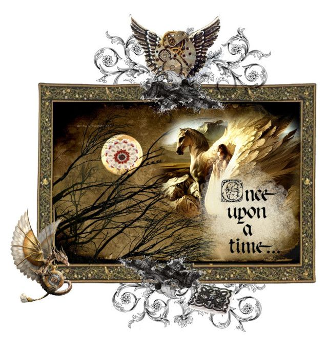 """""""Winged evening"""" by landoflaces on Polyvore featuring sztuka, fantasy, steampunk, dragon, Pegasus i winged"""