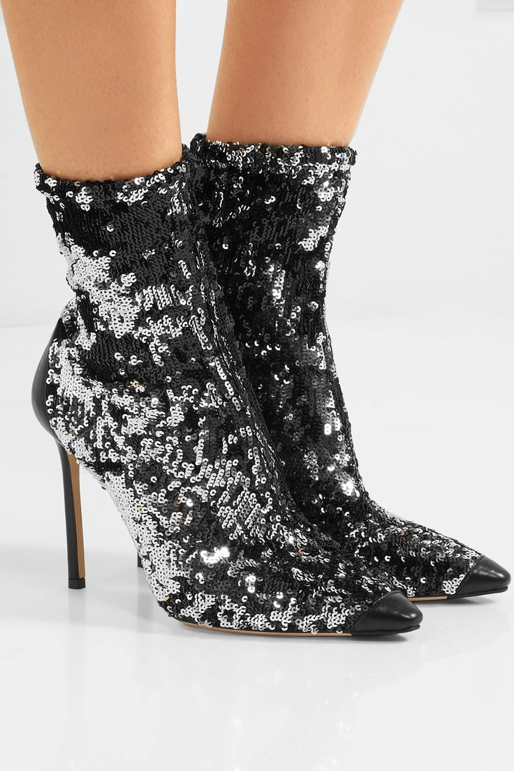 Ricky 100 Leather-trimmed Sequined Stretch-knit Sock Boots - Gunmetal Jimmy Choo London CZht1Fnq