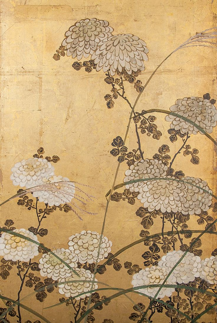 Detail. Japanese 6 Panel Screen: White Chrysanthemums and Wild Grasses on gold leaf. Japan c. 1850