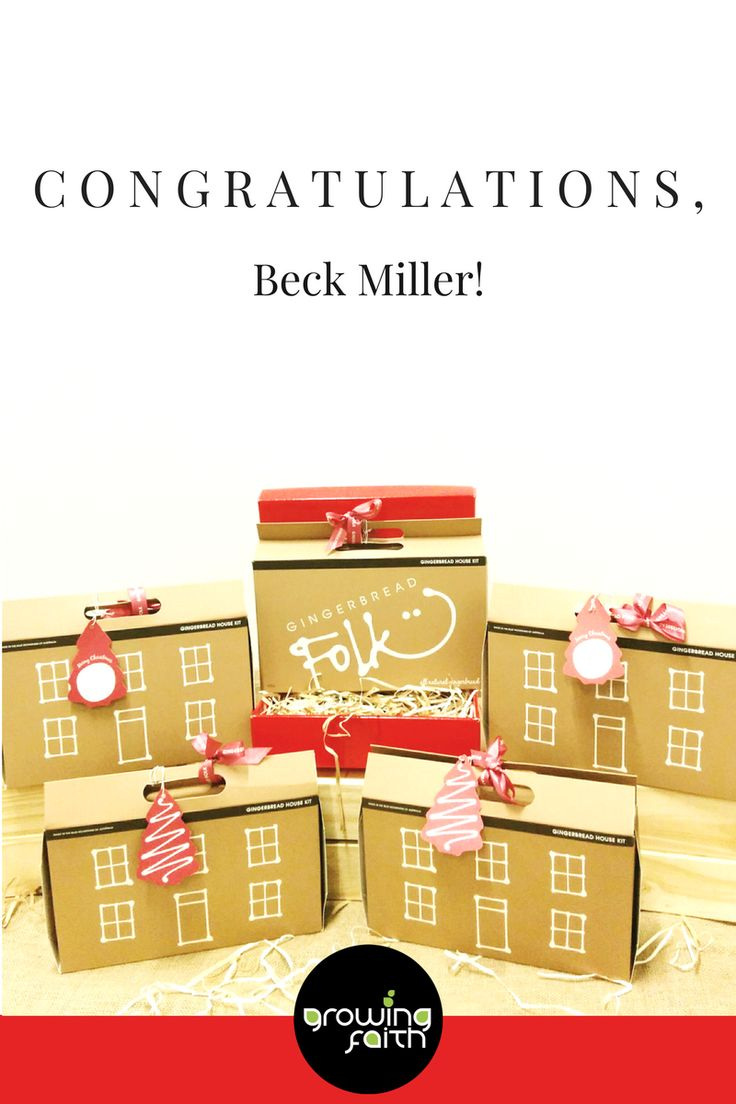 Congratulations Beck Miller, you have won our Christmas Outreach Giveaway -- that means 21 gingerbread house kits from Gingerbread Folk will shortly be heading your way!!! We'll be in touch to arrange your prize. Thank you to everyone who entered. We wish you a joyful and Christ-centred Christmas season!