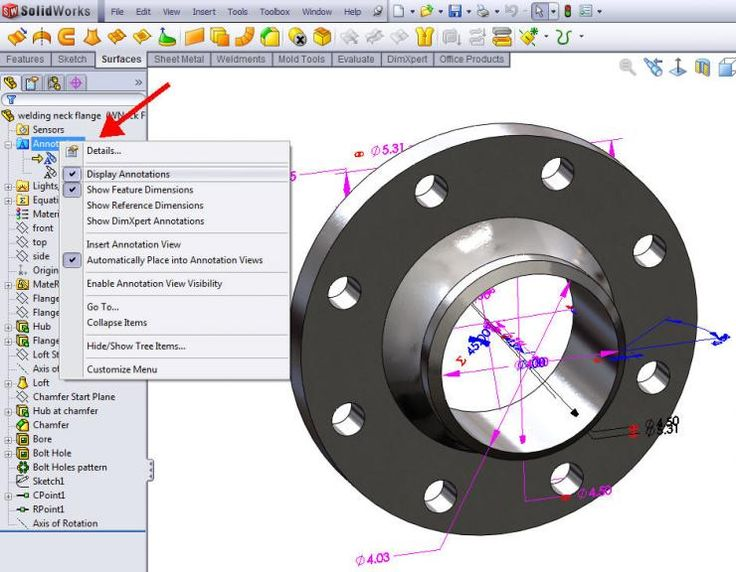 how to delete dimensions in solidworks